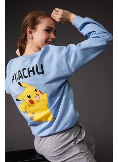 DeFacto Pokemon Lisanslı Oversize Sweatshirt Mavi